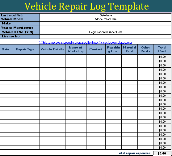 Vehicle Repair Log Templates 10 Free Word Excel Pdf Formats Samples Examples Forms