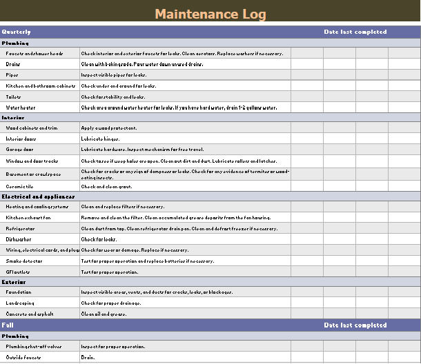 Maintenance Log Templates 12 Free Printable Word Excel Samples Formats Forms