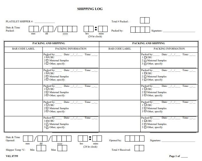 shipping log templates 6 free printable word excel. Black Bedroom Furniture Sets. Home Design Ideas