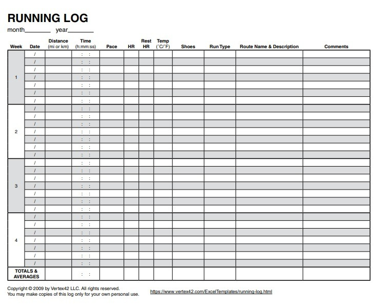It's just a picture of Bewitching Printable Running Log